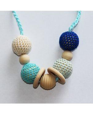 Collar lactancia artesanal crochet Granujas - Azul