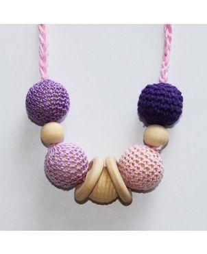 Collar lactancia artesanal crochet Granujas - Morado