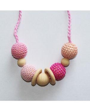 Collar lactancia artesanal crochet Granujas - Rosa