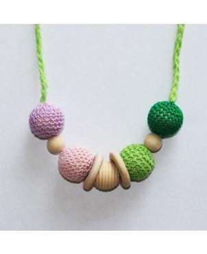 Collar lactancia artesanal crochet Granujas - Verde