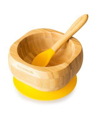 Cuenco bambú con ventosa + cuchara - Eco Rascals - Amarillo