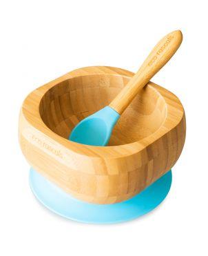 Cuenco bambú con ventosa + cuchara - Eco Rascals - Azul