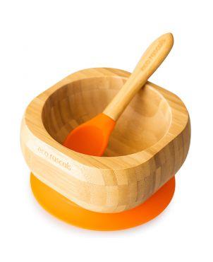 Cuenco bambú con ventosa + cuchara - Eco Rascals - Naranja