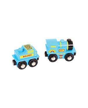 Locomotora madera + vagón azul ABC