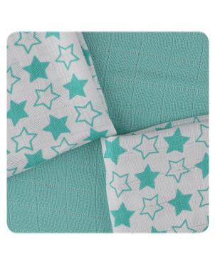 Pack 9 muselinas bambú 30x30 cm Xkko - Little Stars Turquesa