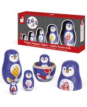 Matrioskas encajables Janod - Pingüinos