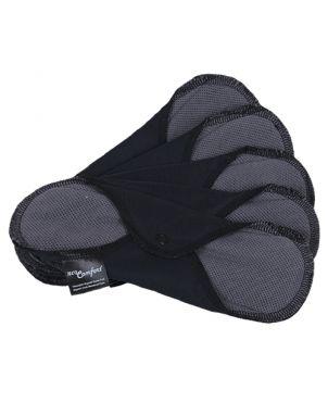 Pack 5 Compresas de tela reutilizables + bolsa Neo Comfort - Mediana - negro