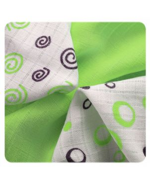 Pack 9 muselinas bambú 30x30 cm Xkko - Spirals y bubbles verde