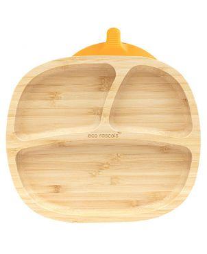 Plato bambú con ventosa - Eco Rascals - Naranja