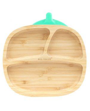 Plato bambú con ventosa - Eco Rascals - Verde