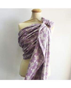 Bandolera de anillas artesanal Granujas de fular Yaro- Butterflies light purple