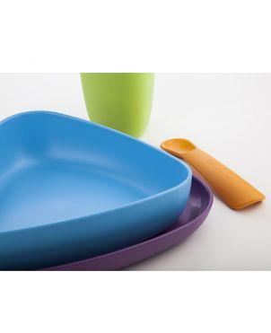 Vajilla bioplástico 100% biodegradable eKeat - Morado y azul