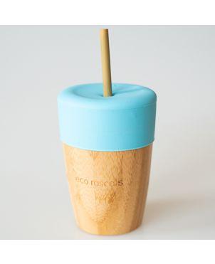 Vaso bambú tapa silicona - Eco Rascals - Azul