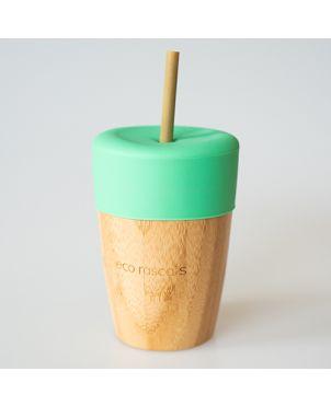 Vaso bambú tapa silicona - Eco Rascals - Verde